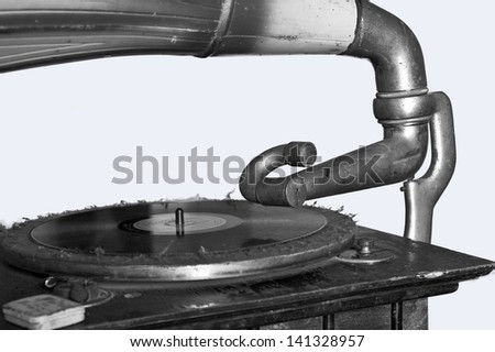 Black & White Gramophone - stock photo