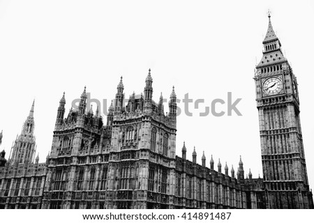 Black & White image of the Houses Of Parliament in Westminster, London, England, UK - stock photo