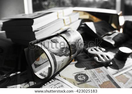 Black & White Money Stock Photo High Quality  - stock photo