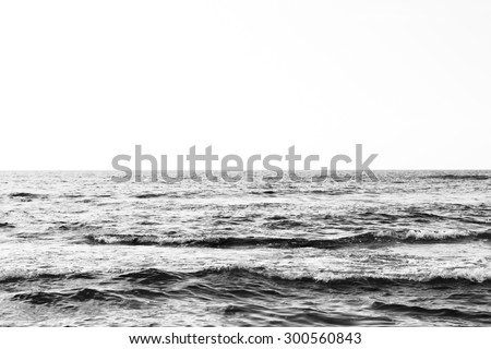 Black & White Seascape Against Bright Sunny Sky In Kona, Hawaii In The Summertime - stock photo