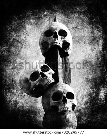 Black White Skulls, Halloween Background - stock photo