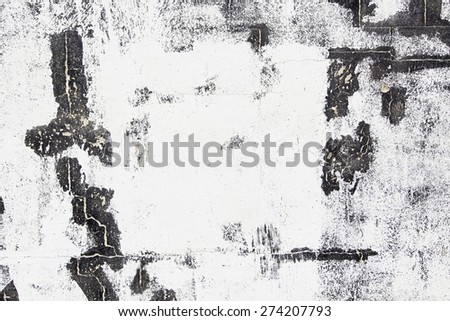 Black white wall and damaged, detail of a wall with texture, neglect and ruin - stock photo
