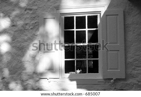 Black & White Window with shutters - stock photo