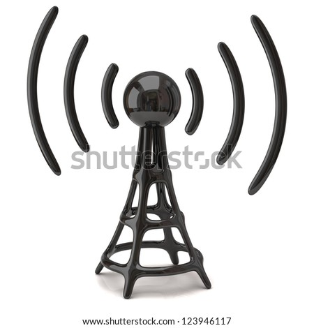 Black Wi-fi icon - stock photo