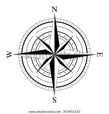 Black wind rose compass isolated on white. Compass Icon Graphic. Nautical design elements. Compass Rose. Wind rose. - stock photo