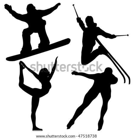 Black Winter Games Silhouettes. - stock photo