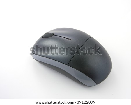 Black wireless computer mouse on white background - stock photo