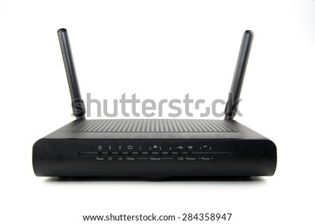 Black Wireless Router isolated on white background - stock photo