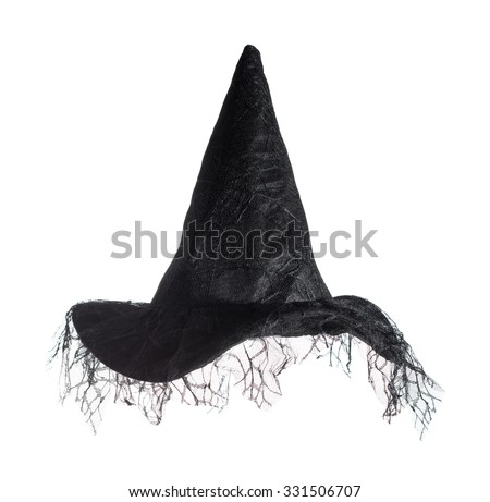 Black witches hat isolated on a white background - stock photo