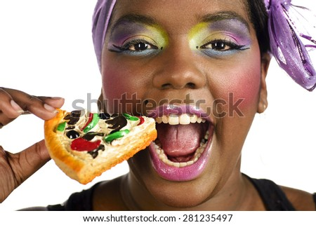 Black woman eating fast food - stock photo