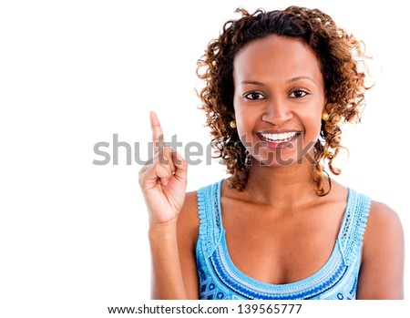 Black woman having a great idea - isolated over a white background - stock photo