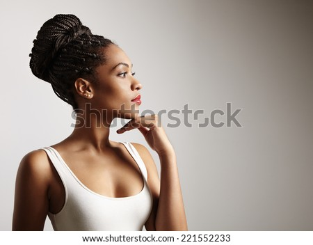 black woman profile - stock photo