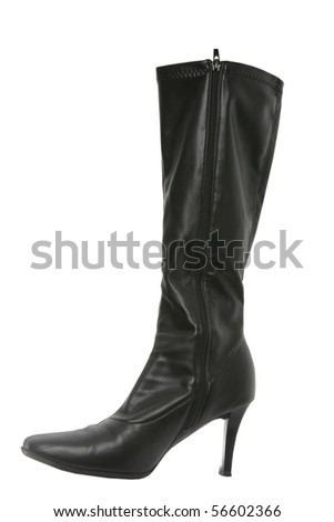 Black woman's boot isolated on white background - stock photo