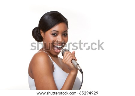 Black Woman Singing karaoke - stock photo