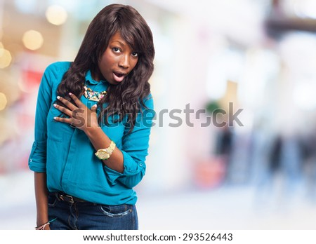 black woman surprised - stock photo