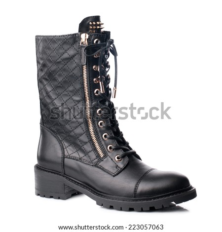 Black  women boot  isolated on white background.  - stock photo