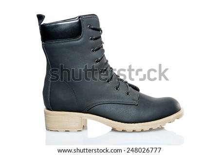 Black women's boot isolated on white. - stock photo