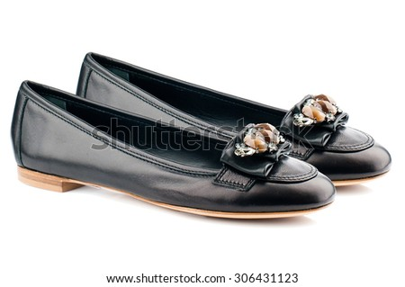 Black women shoes isolated on white background. - stock photo