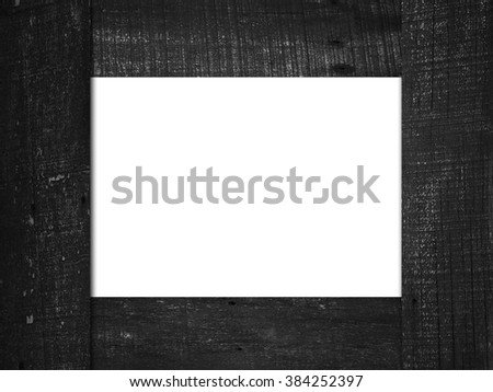 Black Wood frame isolated on white - stock photo