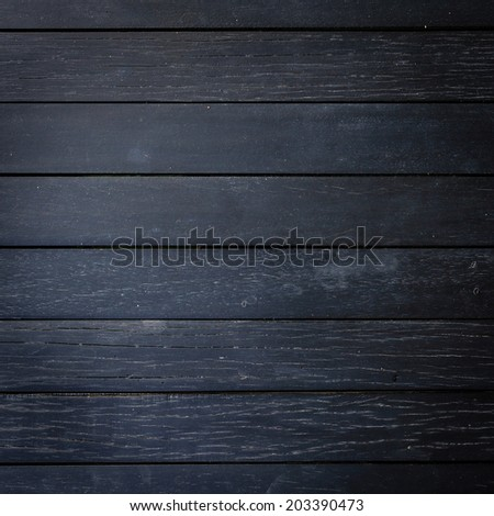black wood plank texture background - stock photo
