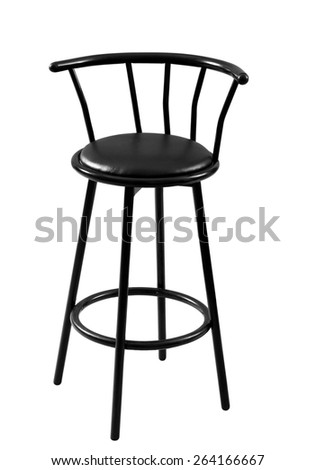 black wooden bar stool on a white background - stock photo