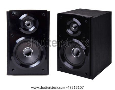 Black wooden loudspeaker isolated on white background - stock photo