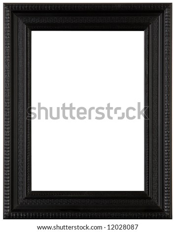 Black wooden picture frame, cut out - stock photo