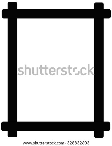Black wooden picture frame isolated on white background  - stock photo