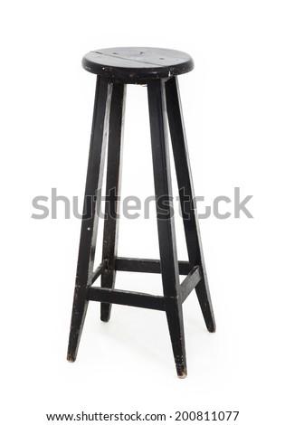 Black Wooden Stool - stock photo