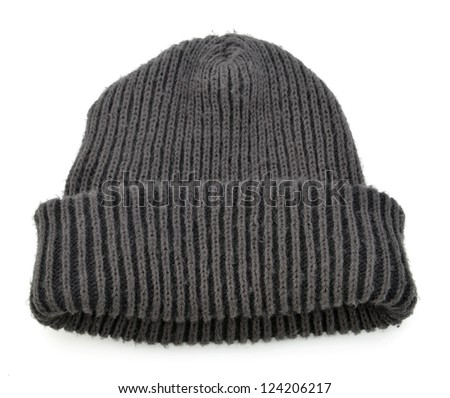 Black wool beanie hat cap perfect for winter weather isolated on white background - stock photo
