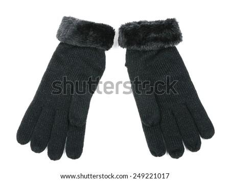 Black wool gloves isolated on white background  - stock photo