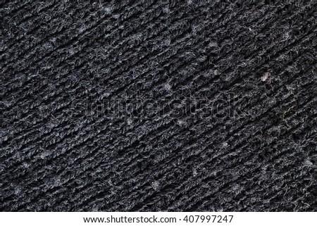 black wool texture, diagonal lines - stock photo
