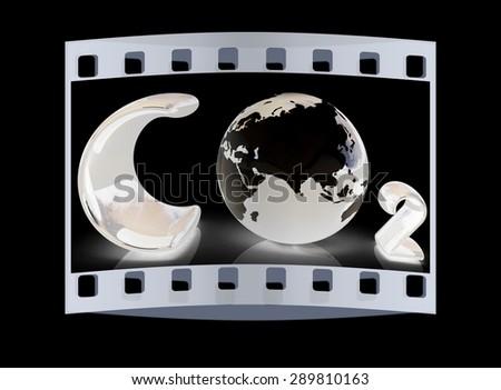 black word CO2 Formula. The film strip - stock photo