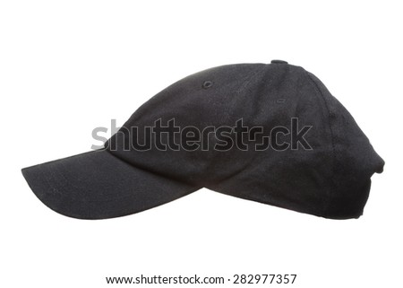 Black working peaked cap. Side view. Isolated on a white background. - stock photo