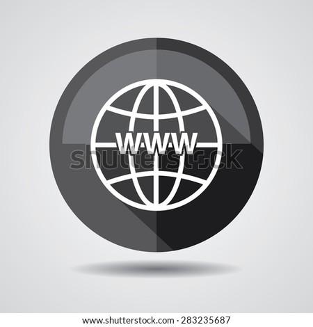 Black Www icon, Internet sign icon. World wide web symbol on a white background.  - stock photo
