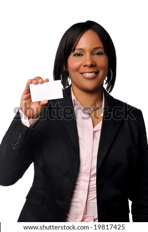 Black young businesswoman holding a card isolated on white - stock photo