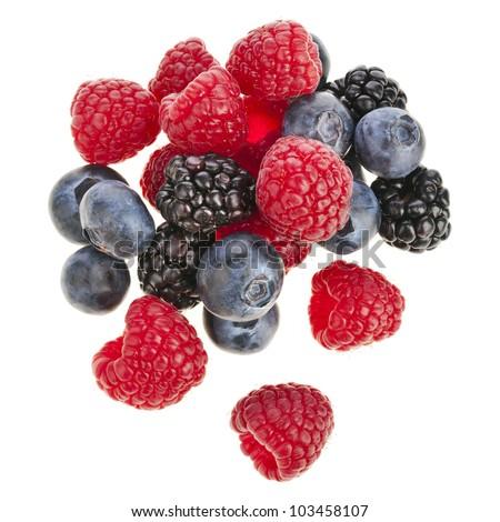 Blackberries ( dewberries), blueberries , raspberries on white background - stock photo