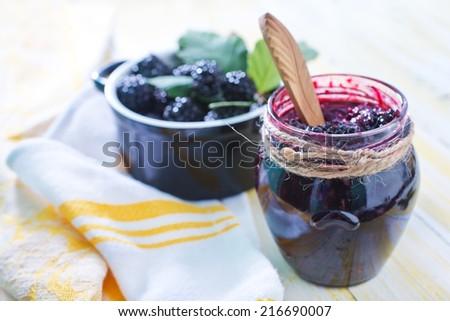 blackberry jam - stock photo