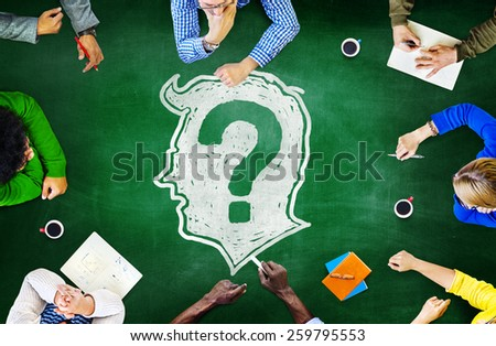 Blackboard Brainstorming Cooperation Planning Meeting Strategy Sharing Concept - stock photo