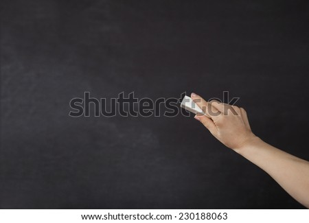 Blackboard / chalkboard. Right hand writing with copyspace for text - stock photo