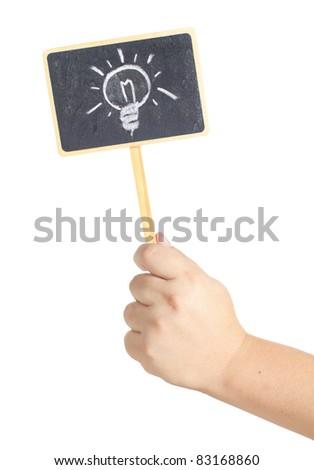 Blackboard display  bulb (Idea) sign isolated on white background - stock photo