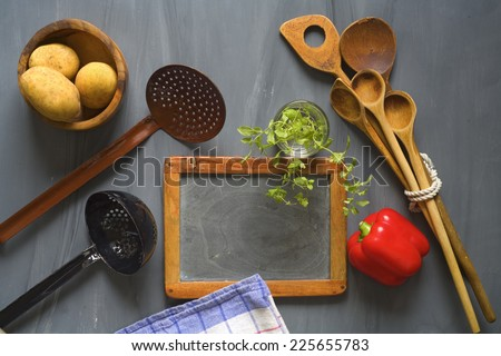 blackboard for cooking recipes, kitchen utensils, food ingredients, free copy space, cooking concept  - stock photo