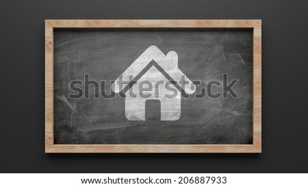 Blackboard Home Icon isolated on white - stock photo