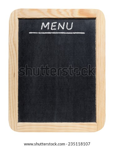 Blackboard menu isolated on white background - stock photo