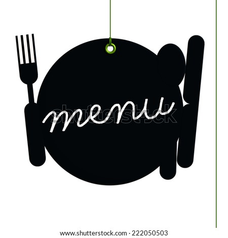 Blackboard menu label, setting of table written menu at the chalk, fixed by a rivet and hung on by a green thread, isolated on white background - stock photo
