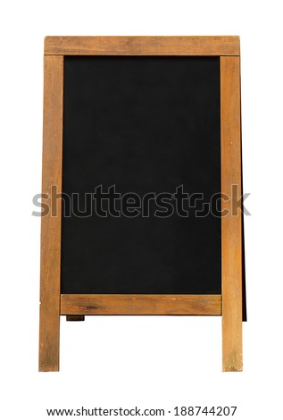Blackboard mounted in an A Frame signboard also known as a sandwich board with chalkboard area blank for insertion of your own custom message - stock photo