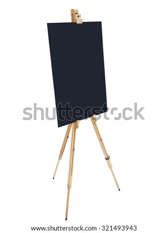 Blackboard stand wooden easel with blank poster sign board isolated - stock photo