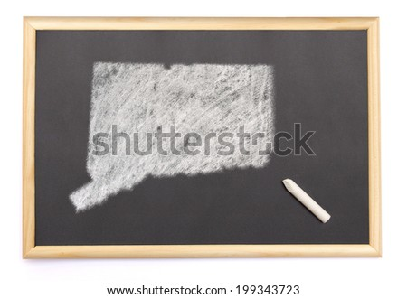 Blackboard with a chalk and the shape of Connecticut drawn onto. (series) - stock photo