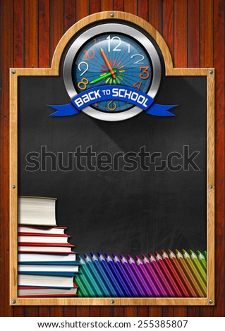 Blackboard with Back to School Clock. Blackboard with symbol with a colorful clock with clock hands in the shape of colored pencils and blue ribbon with text back to school - stock photo