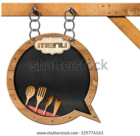 Blackboard with Chain - Restaurant Menu / Empty blackboard with frame in the shape of a speech bubble with wooden kitchen utensils. Template for a restaurant menu - stock photo